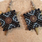 Mixed Stitch Riveted Earrings
